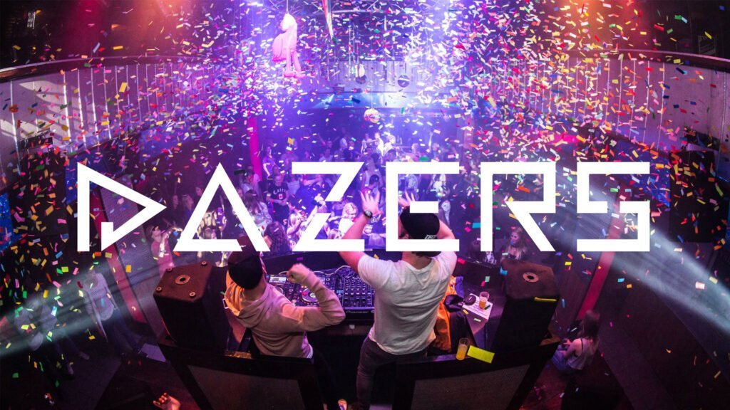 Pixelwish, Projecten, Dazers, Logo, Banner, Mobile, DJ, Party, Confetti, Club
