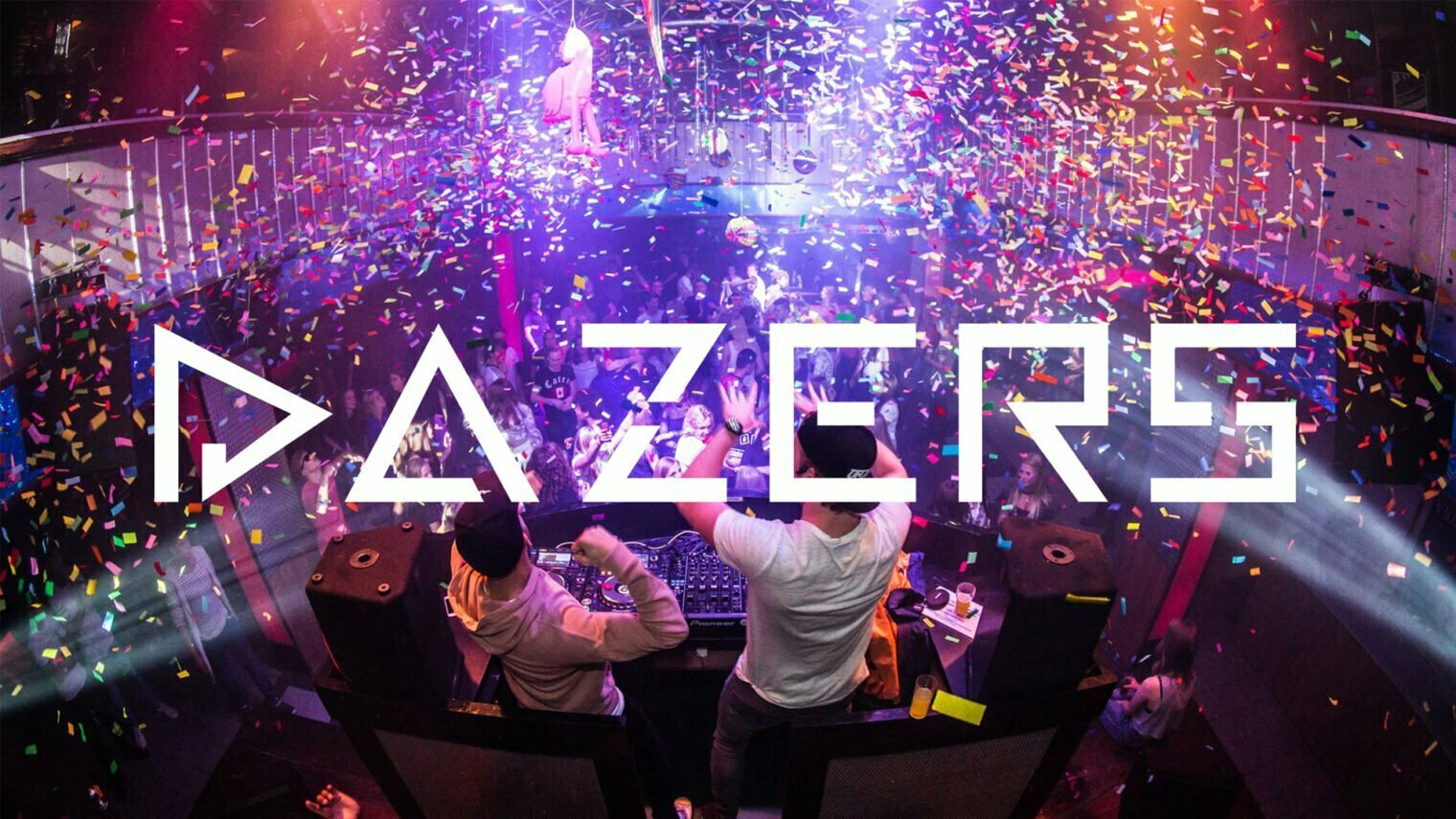 Pixelwish, Projecten, Dazers, Logo, Banner, Mobile, DJ, Party, Confetti, Club