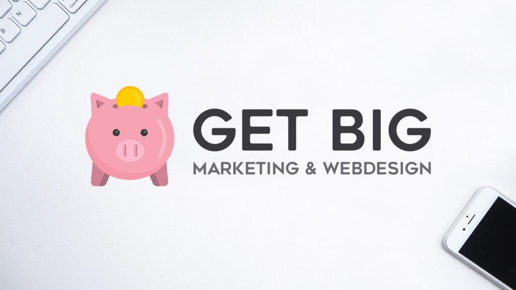 Pixelwish, Projecten, Get Big Marketing, Logo, Banner, Mobile, White background