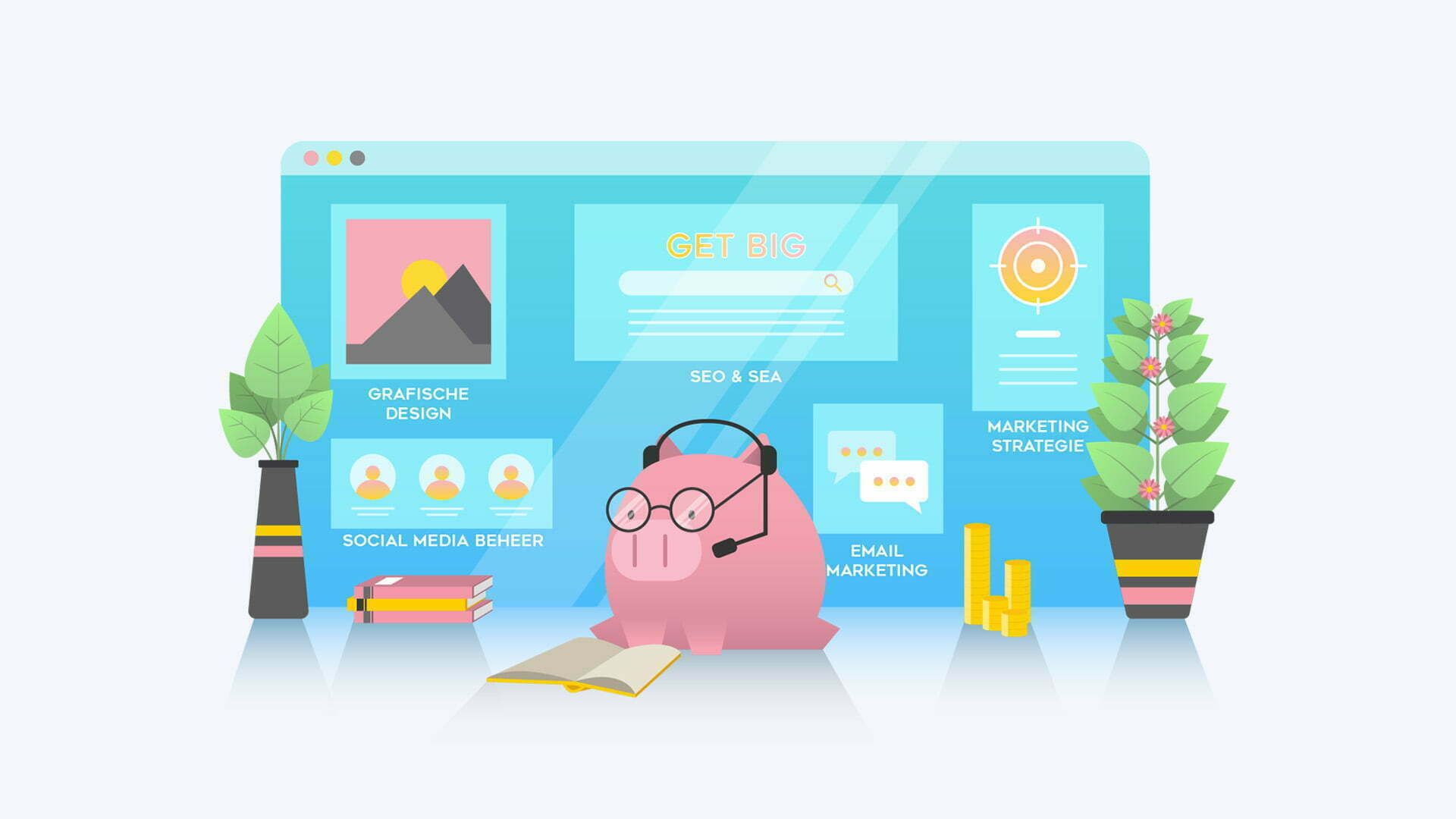 Pixelwish, Projecten, Get Big Illustratie, Flat art, funny, Seo, Sea, social media, marketing, smart