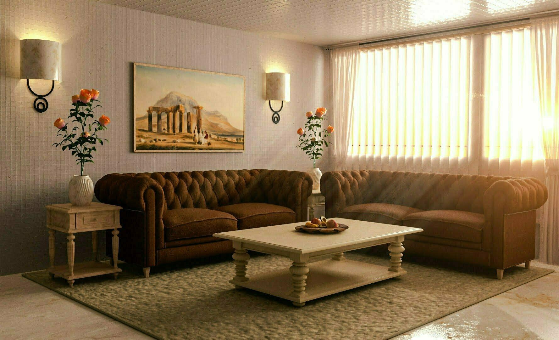 Pixelwish, 3D Design, Interior, Visualization, Living Room, Warm, Daylight